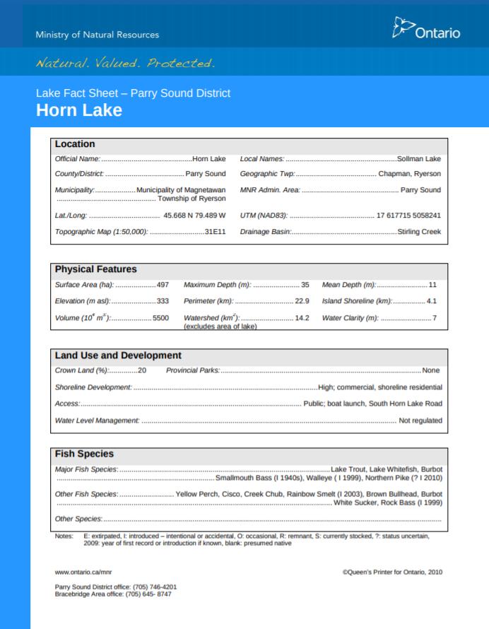 MNR Horn Lake Fact Sheet